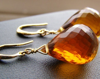 Madeira Citrine Gold Earrings.  Brown citrine dangles.  Luxury Large AAAA Stones