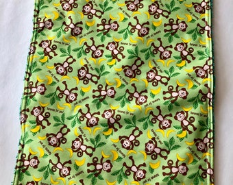 Changing Pad, Lap pad, monkeys ,gender neutral, waterproof pad, crib pad,travel pad,sanitary,leakproof pad,green terrycloth,READY TO SHIP