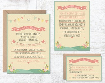 Rustic Wedding Invitation Template, Wedding Invitation Printable, Festival Wedding, Bunting Wedding, Tipi Invitation, Boho, Barn Wedding