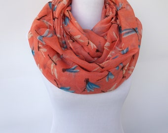 Coral Infinity Scarf, Dragonfly Print Scarf, Fashion Accessories, Boho Scarf, Women's Scarf, Loop Scarf, Gift For Her, Circle Scarf
