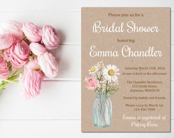 Floral Mason Jar Bridal Shower Invitation, Printable Floral Rose Daisy Kraft Invite, Floral Rustic Bridal Shower, DIY Kraft, Download, 101-B