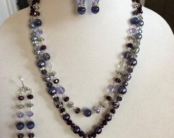 Purple/Lavender Agate Necklace, Bracelet, and Earrings Set