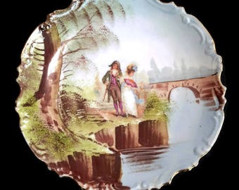 antique large french porcelain plate, decorative plate, wall decor
