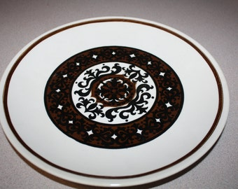 Vintage PLATE Brown Black White Scroll Plate Royal China Royal Ironstone