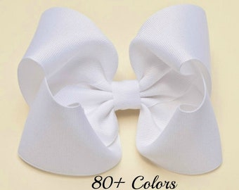 White Hair Bow, Hair Bows for Girls, Girls Hair Bows, 5 inch Hair Bows, Hair Bows, Toddler Hair Bows, Hairbows, Big Hair Bows