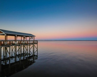 Gradient Sunset & Dock Fine Art Print - Travel, Scenic, Landscape, Nature, Home Decor, Zen