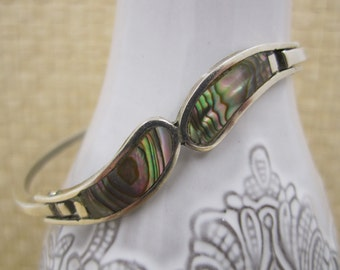 """Very modernist """"Alpaca""""  curvy  silver bangle with inlaid Abalone Shell"""