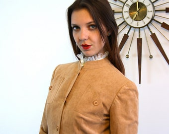 Vintage 60s Mollie Parnis Tan Ultra Suede Jacket Soft Light Brown Faux Leather Women's Short Cropped Vegan 1960s Button Down Ladies Jacket