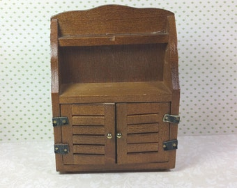 MINIATURE SIDEBOARD or HUTCH, Wood with Leather Hinges, 1:12 Scale, Price Products, 1970's, Vintage Dollhouse Furniture