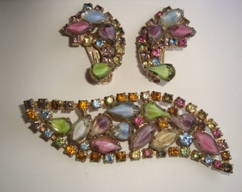 Juliana Delizza Elster Rhinestone Brooch and Earring Set / Demi Parure