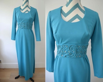 Vintage 1970s Blue Maxi Dress with Sleeves and Swirl Psychedeilc Embroidery & Crystal Jewel Embellishment - Medium - Disco Bridesmaid Prom