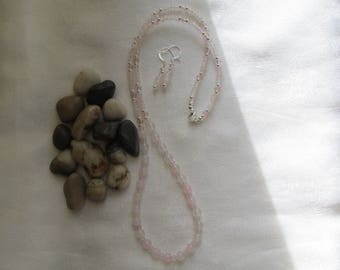 Pink Chalcedony Necklace and Ear Rings