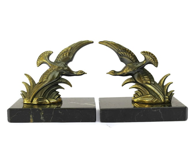 Art Deco Bird Figure Bookends. French Vintage Office Decor. Pair of flying birds Book Ends.