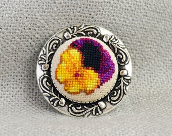 Viola flower brooch Cross stitch jewelry Embroidered brooch Yellow black flower Hand embroidery Viola jewelry Women gift Nature girl jewelry