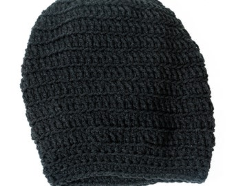 Black adult size slouchy hat