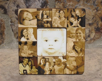 Personalized Father's Day Collage Picture Frame, Baby's First Year Frame, Unique Baby Gift, Baby Photo Collage, Mom Birthday Gift