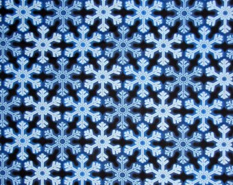"""Christmas fabric, Holiday Fabric: Holiday Snowflakes Blue by Benartex 100% cotton Fabric by the yard 36""""x43"""" (M201)"""