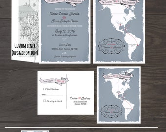 The Americas Destination bilingual wedding invitation South America North America Two Countries Wedding Stationary -  DEPOSIT Payment