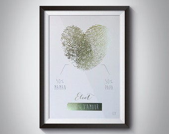 Displays heart footprint in gilding & name in gilding - customizable - gilding - colour-decorating - child - room