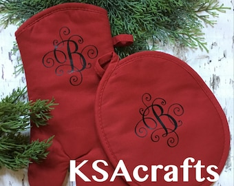 Oven Mitt, Monogrammed pot holders, personalized oven mitts