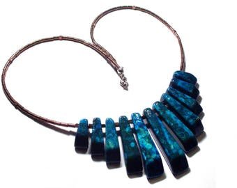 Chic necklace copper plated Hematite turquoise resin & 925 sterling silver, fine and delicate necklace, gift idea for woman