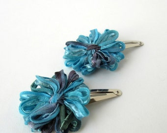 Flower Hair Clips in Aegean Blue