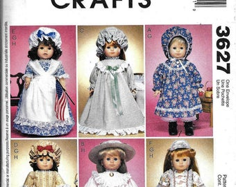 """McCall's 3627 Girl Doll Clothes Pattern 18"""" Felicity Early American Colonial"""