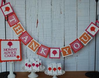 Hot Air ballon bébé douche paquet, Merci bannière, signe de conseils de maman, 24 cartes, Up Up and Away