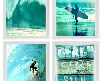 Beach Photography, Surfer Art, Beach Surf Sun, Ocean Waves, Surfer Gift, Surfing Photo, Aqua, Blue, Green, Beach House Decor, Bathroom Art