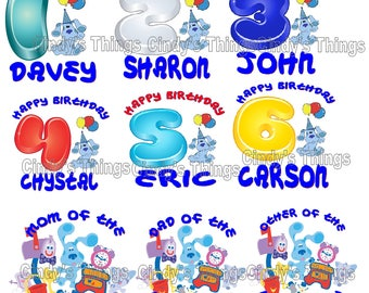 Blues Clues  Birthday numbers T shirt Iron on Transfer personalized age Mom Dad