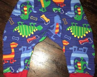 Primary Dinosaurs Dino Baby Harem Pants - Cotton Lycra 3-6M - Ready to Ship