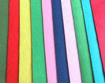 Red blue yellow felt 10 colors