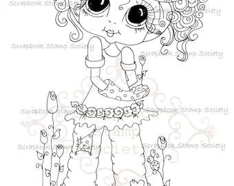 INSTANT DOWNLOAD Digital Digi Stamps Big Eye Big Head Dolls Digi  Bloomin Garden  Besties IMG743  By Sherri Baldy