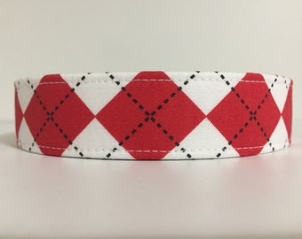 RED ARGYLE - Red and White Argyle Dog Collar or Cat Collar - Personalized Dog Collar or Cat Collar - Custom Embroidered Dog & Cat Collars