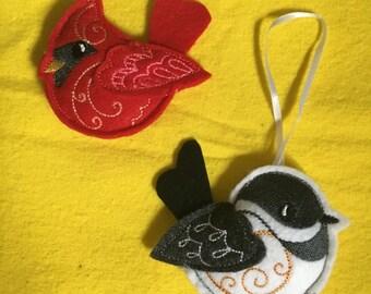 Cardinal and chickadee felt ornaments.