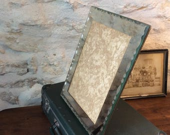 Large vintage glass picture frame, Beveled edge mirror picture frame