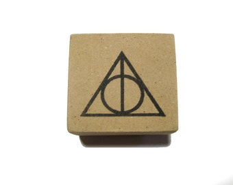 Deathly Hallows Stamp 1 inch Handmade Harry Potter Rubber Stamp - Wood Mounted Hand Carved Deathly Hallows Stamp