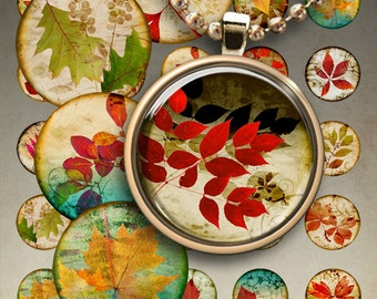 1 inch (25mm) and 1.5 inch size images HERBARIUM Circles Digital Collage Sheet Printable Downloads for pendants magnets bezels findings