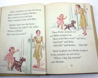 Down the Road Vintage 1940s Children's School Reader or Textbook by Silver Burdett Co. Illustrated by Corinne Malvern