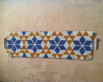 Starry Quilt Loom or 1 Drop Odd Peyote Cuff Bracelet Bead Pattern