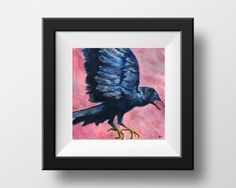 Flying Crow Original Art Print, Watercolor, Bird, Animal