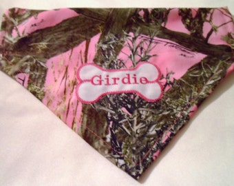 Pink Camo, Dog bandana, True Timber,  persnalized, dog Gift,  Over the Collar photo shoot, Pet gift,  Hunting, bandana, dog lover gift,