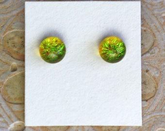Dichroic Glass Earrings, Yellow/Green  DGE-1285