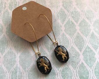 Dangly Earrings with Vintage Lion Cabochons // Leo