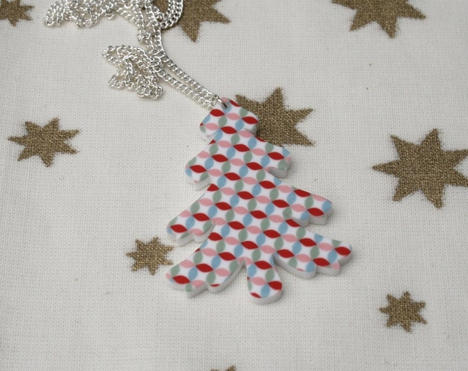 Christmas Tree Necklace, Scandi patterned Christmas Illustration Necklace