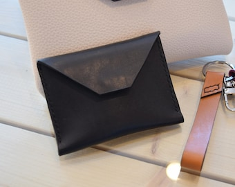 LEATHER COIN PURSE - Envelope card case, Leather card holder, Leather card wallet, Leather pouch, Leather purse
