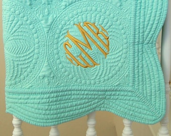 Mint Green Baby Blanket - Personalized Quilt -  - 36 x 46 Inches - Girl Nursery Decor - Monogram Baptism Gift