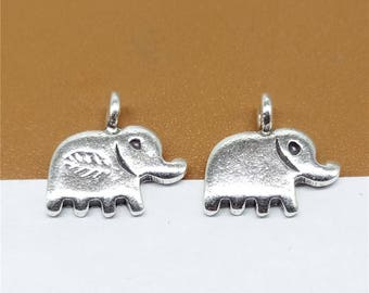 5 Karen Hill Tribe Silver Small Elephant Charms, Karen Tribe Silver Leaf Elephant Charm, Hill Tribe Silver Elephant Charm -TR484