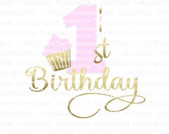 first birthday svg - 1st birthday svg - cupcake svg - svg birthday - svg first birthday - svg 1st birthday, .SVG .EPS ,DXF Flamingo and fawn