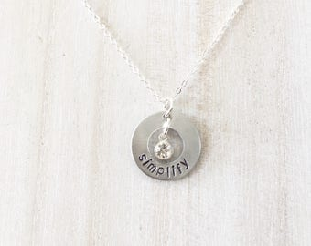 ONE LITTLE WORD Necklace with hand stamped charm